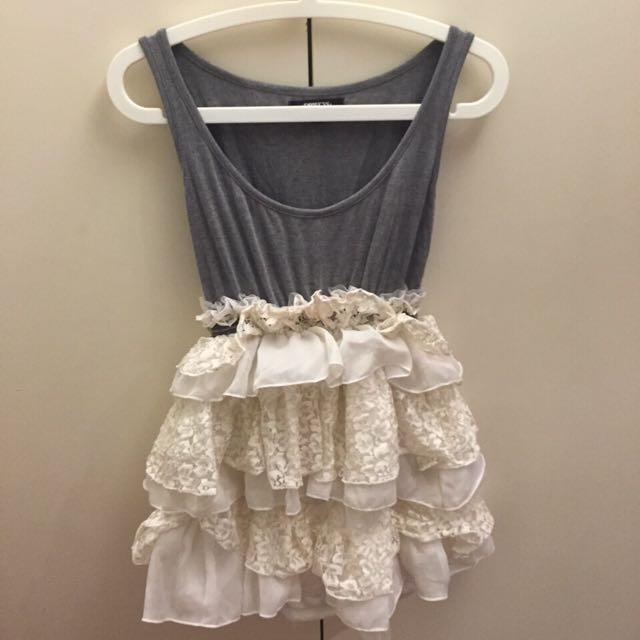 二手 蕾絲 紗裙 澎裙 蛋糕裙 拼接 小禮服 日本