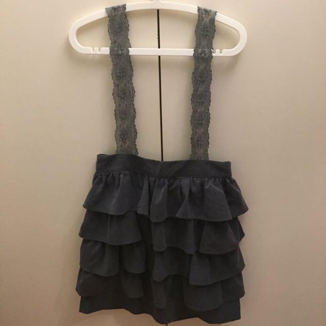 二手 韓國 灰色 蕾絲 吊帶 高腰 蛋糕裙