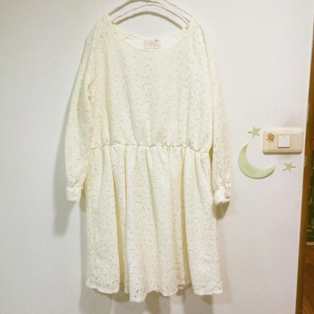 全新 PAZZO MIT浪漫少女蕾絲緹花縮袖洋裝