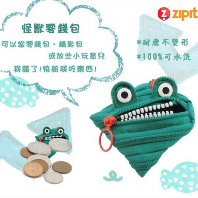 (保留中)美國 Zipit 怪獸拉鍊包(小) 零錢包 鑰匙包 - 藍綠
