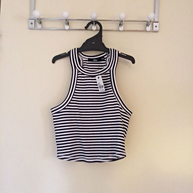 Navy Blue And White Striped Halter