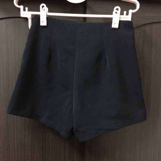 PAZZO 雪紡高腰黑色短褲(S)/九成新