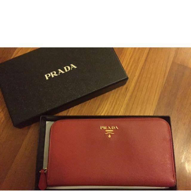 fb6cfbb72706d7 Prada Wallet Saffiano MultiColor Inside, Luxury on Carousell