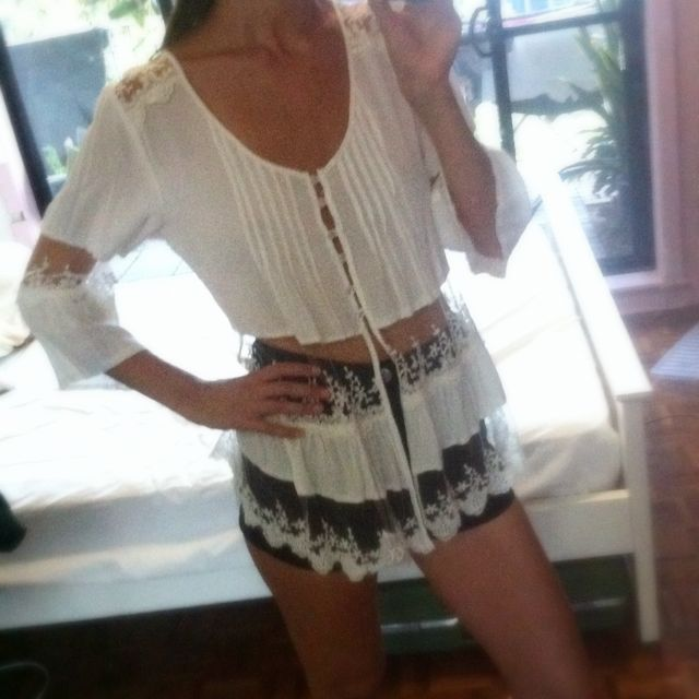 White Mesh Gypsy Top