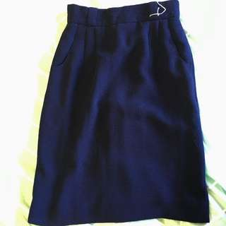 Navy High Waisted Skirt