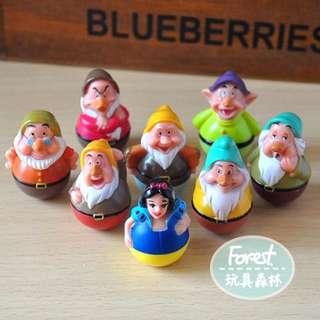 迪士尼白雪公主與七矮人 不倒翁公仔八隻組 愛麗兒美人魚貝兒灰姑娘