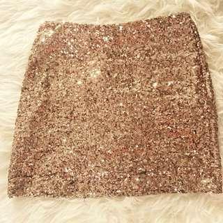 Gold Sequined Mini Skirt