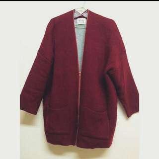 酒紅 厚版 長版 毛衣 外套 文青風 氣質感