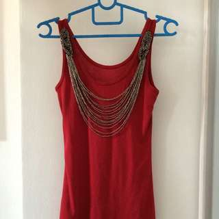 BN Beaded Red Tank Top