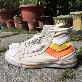 PONY 灰白橘黃 帆布鞋 高筒球鞋 EUR38 24.5號