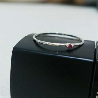 韓國帶回 紅水鑽細戒指💍 尾戒 關節戒 指節戒 925銀