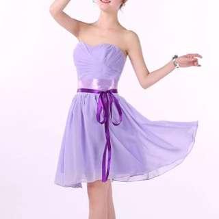 紫色平口洋裝