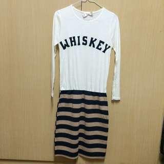 全新mihara 連身長袖休閒條紋洋裝