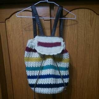 日系 森林系 文青風  彩色 條紋 針織 毛線 編織包 後背包