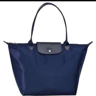 徵 Longchamp 行星深藍長柄包包