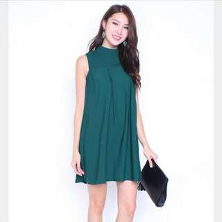 Neonmello Kella High Neck Trapeze Dress in Forest Green (Size M)