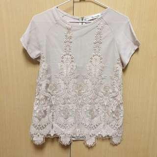 mihara裸色雪紡金蔥蕾絲上衣