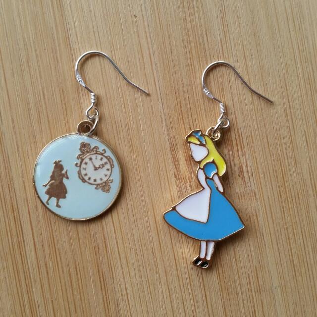 925純銀 愛麗絲 耳勾 耳環
