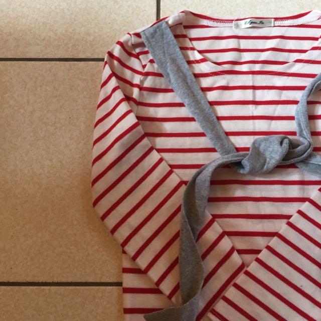 🙋假兩件條紋上衣