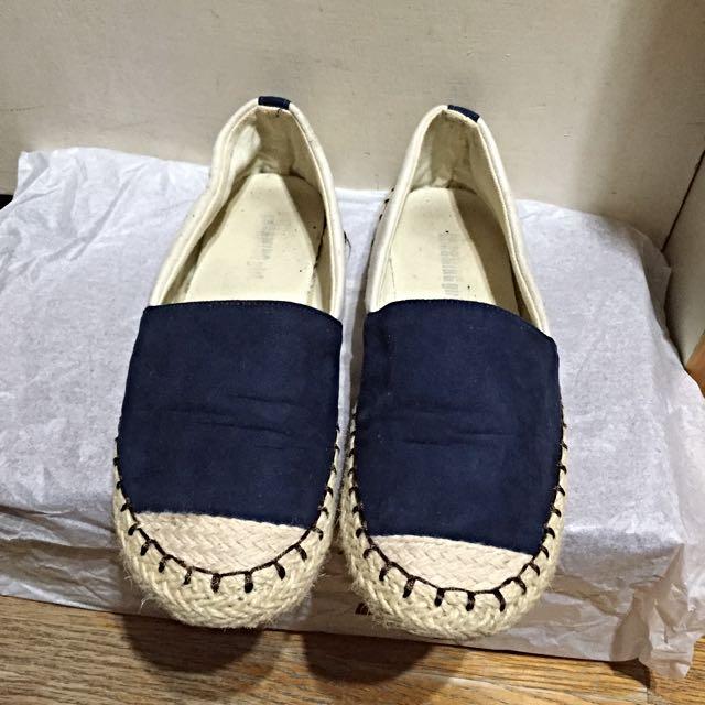 編織絨布拼接平底懶人鞋