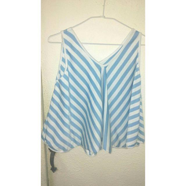 淺藍條紋二手上衣