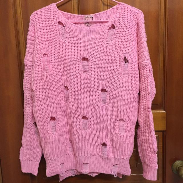 粗針織粉色上衣