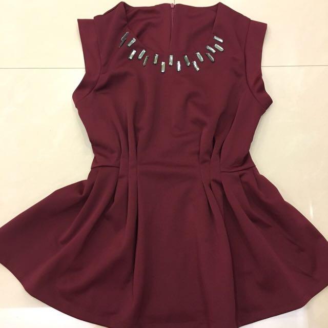 酒紅短洋裝