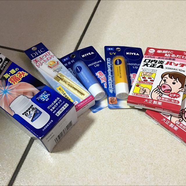 日本自由行帶回 全新美妝沒有使用過 口內炎貼 護唇膏 Zenol痠痛棒
