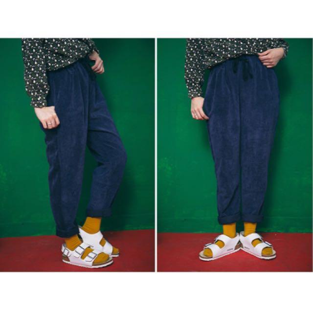 ✨全新💫燈芯絨抽繩長褲 🔵藍色✨