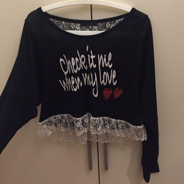 二手 愛心 蕾絲 短板 黑色 長袖 拼接 上衣 日本