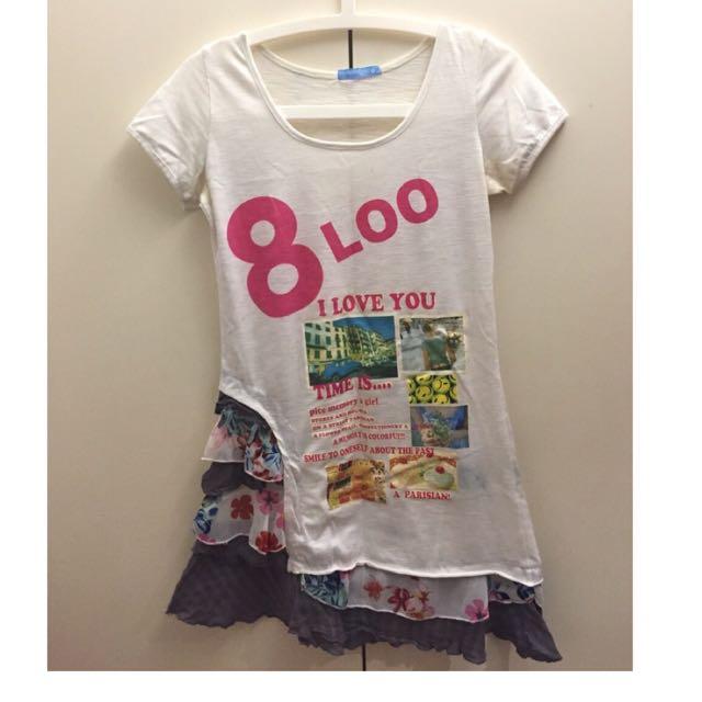 二手 拼接 白色 短袖 長板 T-shirt  日本