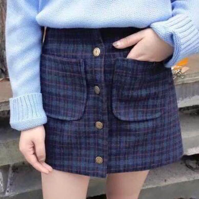 韓國復古高腰格子A字裙