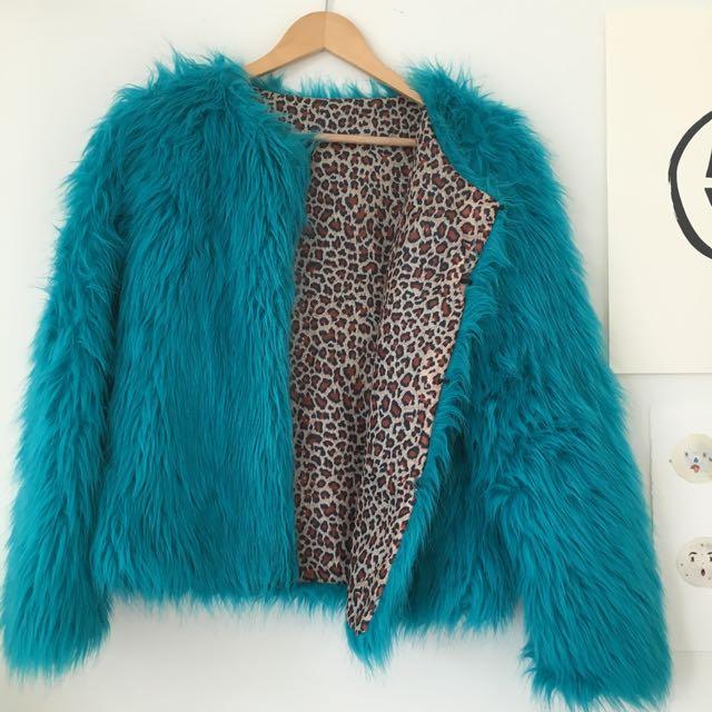 Aqua Faux Fur Jacket