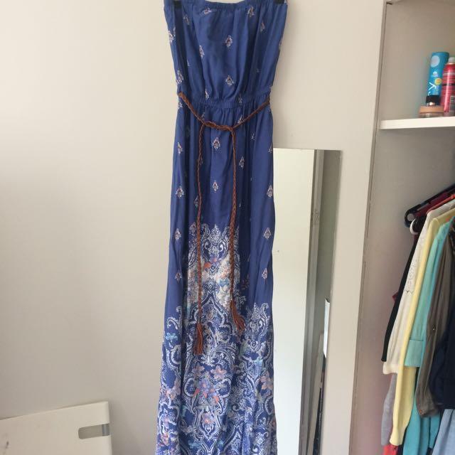 Boho Maxi Dress - Size 10 - Free Belt - Nina Proudman Style