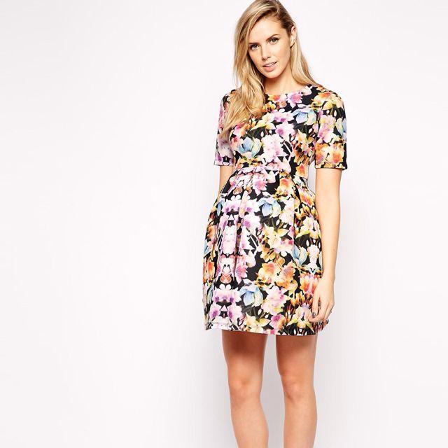 8eecb3df07f Brand New) ASOS Maternity Scuba Skater Dress in Digital Floral Print ...