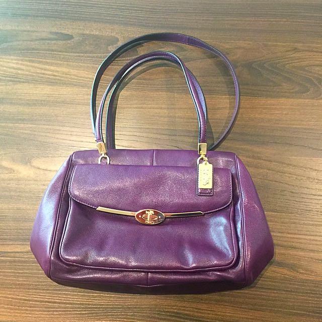 正品COACH紫色高質感側背/手提包