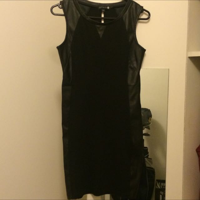 Faux Leather And Jersey Dress - Size M/10