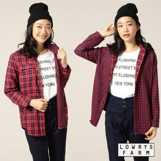 [二手]9.5成新LOWRYS FARM雙面2WAY兩穿格紋長袖襯衫