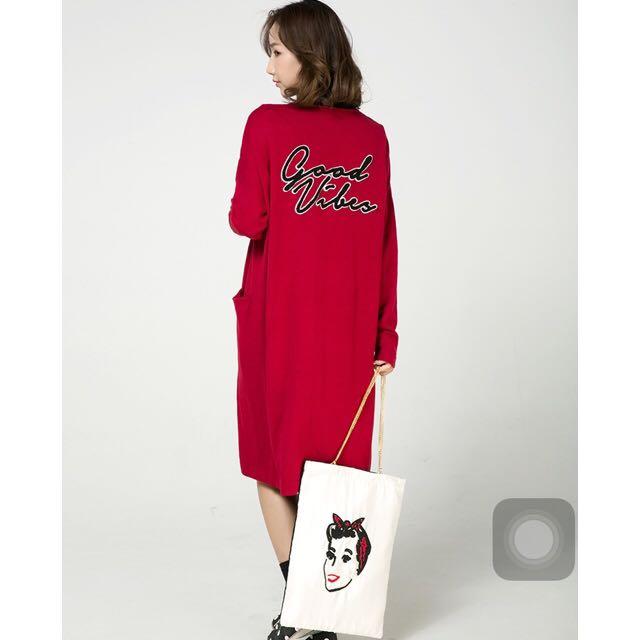 Moussy款❤️羊絨中長寬鬆針織外衫
