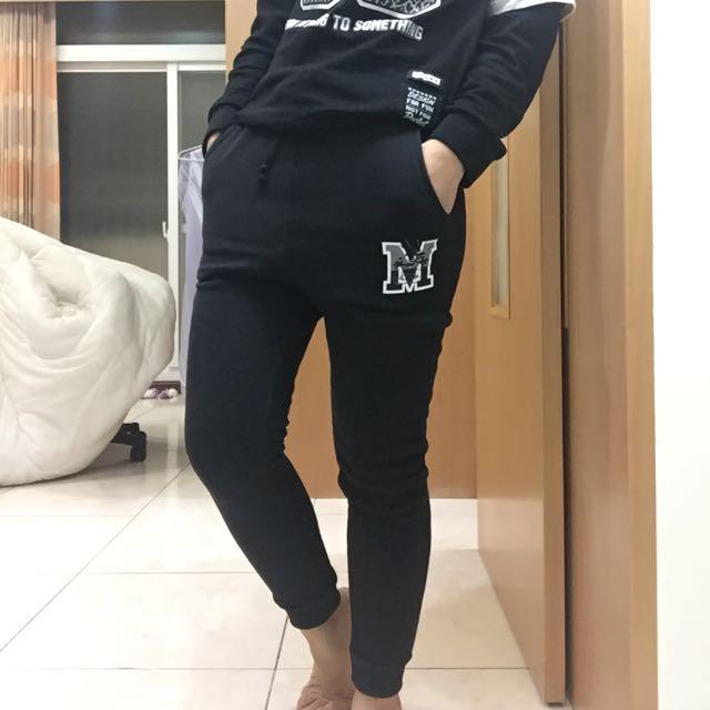 (全新)PAZZO 內刷毛 運動 休閒黑褲