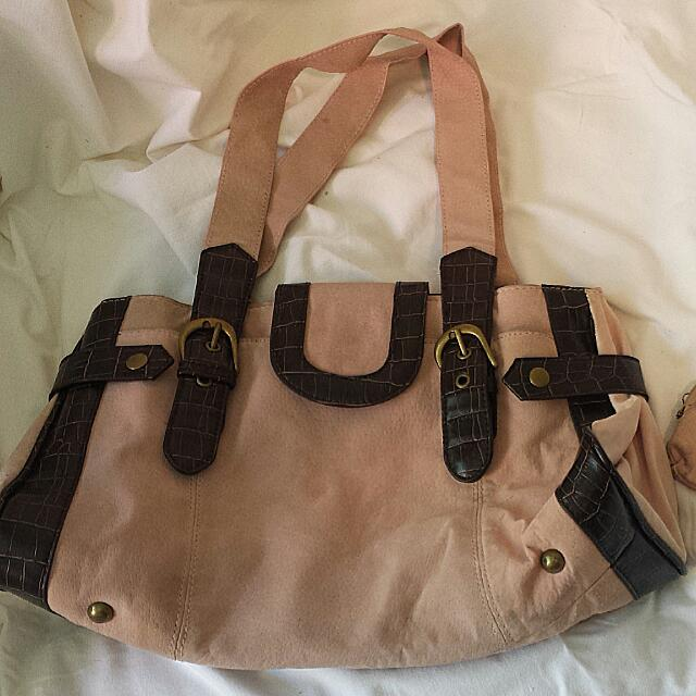Pink And Brown leather And Suede Bag