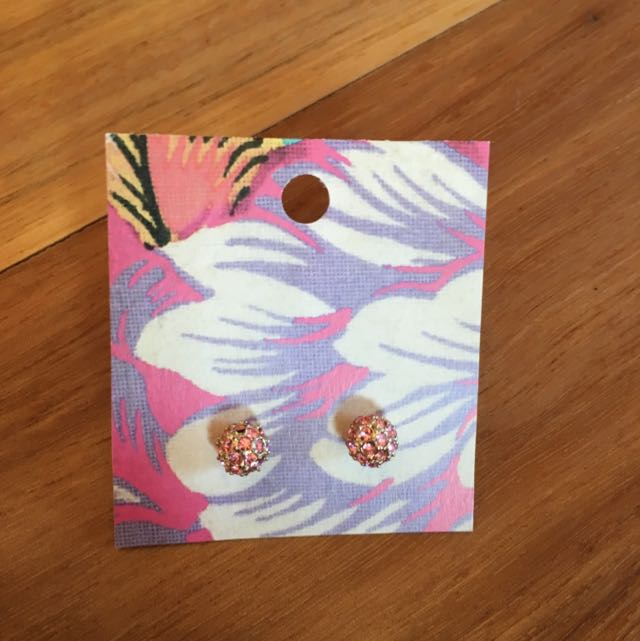 Pink and Gold Ball Studs