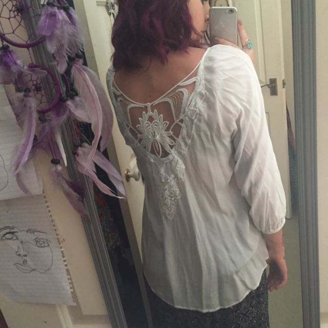 White Cotton Shirt Lace Back
