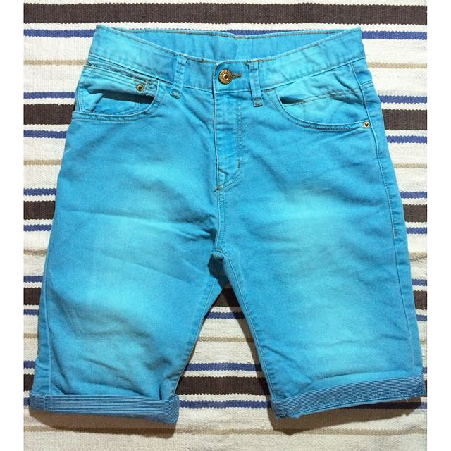 Zara Kids大男童 牛仔丹寧短褲 淺藍 天空藍 刷色 小版男裝