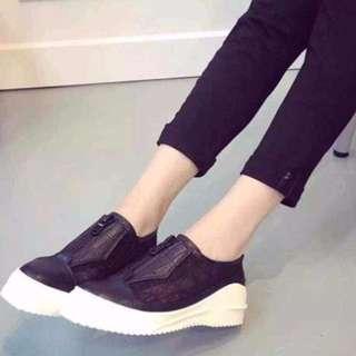 只賣2小時 歐美潮款 鏤空設計休閒平底厚底鞋 網紗蕾絲流線型 35 36 37 38