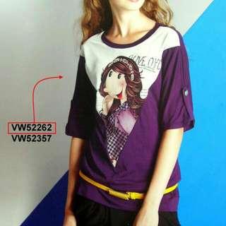 Olive Oyl 原價$1,400.-(大T)上衣VW52262,紫&