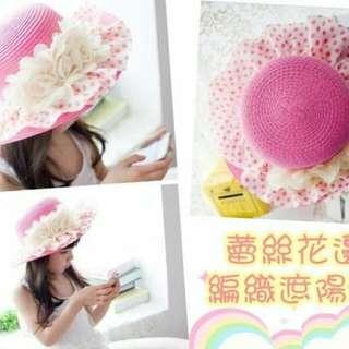 新款韓版大帽緣蕾絲花朵編織帽/遮陽帽-玫紅+白蕾絲橘點