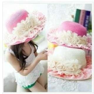 新款韓版大帽緣蕾絲花朵編織帽/遮陽帽-奶白+白蕾絲橘點