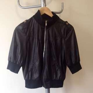 Faux Leather Bomber 3/4 Jacket