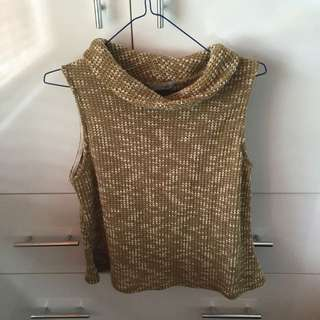 Golden Turtle Neck Sleeveless